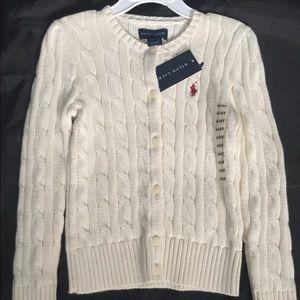 Ralph Lauren cable knit cardigan sweater girls 4t